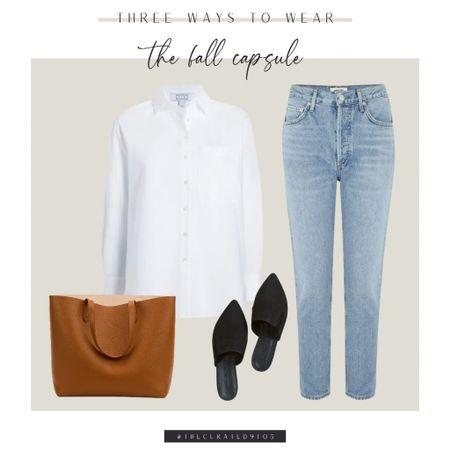 Fall capsule, white button down, straight leg jeans, leather tote, black slides, black mules  #LTKSeasonal #LTKstyletip #LTKitbag