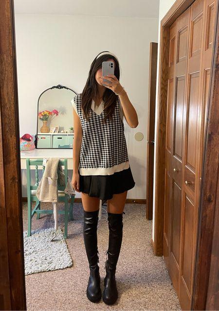 preppy fall outfit oversized sweater vest Zara black chunky leather over the knee boots  #LTKunder50 #LTKfit #LTKSeasonal