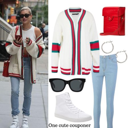 Hailey Baldwin's Gucci Look is now affordable! This  cardigan is on sale and comes in 4 colors!  Her cardigan costs $1500. This one looks  similar for under $30!  #LTKunder50 #LTKsalealert