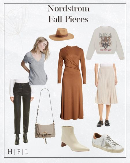 Nordstrom Fall pieces you need in your closet right now! Rag & Bone wool fedora, v-neck grey tee, Peyton sweater knit midi skirt, Vince long sleeve drape front knit midi dress, Anine Bing tiger sweat shirt in cream, golden goose sneaks in great neutral colors, Her Fashioned Life  #LTKSeasonal #LTKstyletip