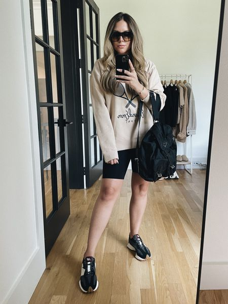 Biker shorts outfit idea #ootd #chic