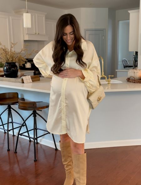 Silk dress maternity dress knee high boots fall fashion   #LTKstyletip #LTKshoecrush #LTKbump