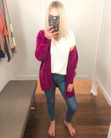 LOFT chenille fuchsia cardigan (XS) with skinny jeans and white tee!! 50% off with code OMG  http://liketk.it/2FmkC @liketoknow.it #liketkit #LTKsalealert