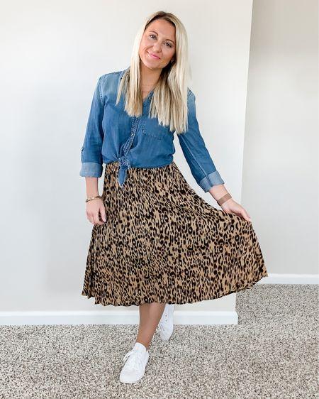 How to Style a Chambray Button Down with a Midi Skirt   http://liketk.it/3bSnA #liketkit @liketoknow.it #LTKstyletip #LTKsalealert #LTKunder50