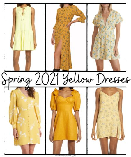 Spring 2021 yellow dresses 💛  Shades of yellow are totally my favorite for this spring season. We all need some bright and fun colors right now!   ✨✨✨  Yellow, yellow dresses, mustard yellow dress, floral yellow dress, spring fashion, spring style, spring looks, spring OOTD, new releases, new finds  #LTKunder100 #LTKSpringSale #LTKSeasonal