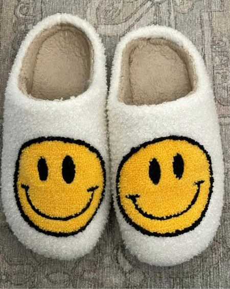 Smiley face slippers #cozy