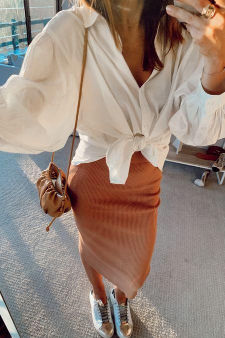White shirt camel tube skirt   @liketoknow.it #liketkit http://liketk.it/2KPrk #LTKunder100 #LTKunder50 #LTKitbag