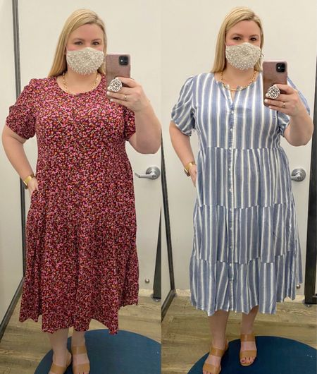 Old Navy midi dresses in floral and stripes. Wearing the XL in both, but need the large. Very comfortable!   #LTKcurves #LTKunder50 #LTKSeasonal