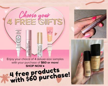 Too faced products I love! Plus 4 free gifts!  @liketoknow.it.family @liketoknow.it.home #LTKbeauty #LTKunder50 #LTKstyletip http://liketk.it/3gN8B @liketoknow.it #liketkit        Foundation  Beauty finds Mascara  Liquid eyeliner Beach vacation