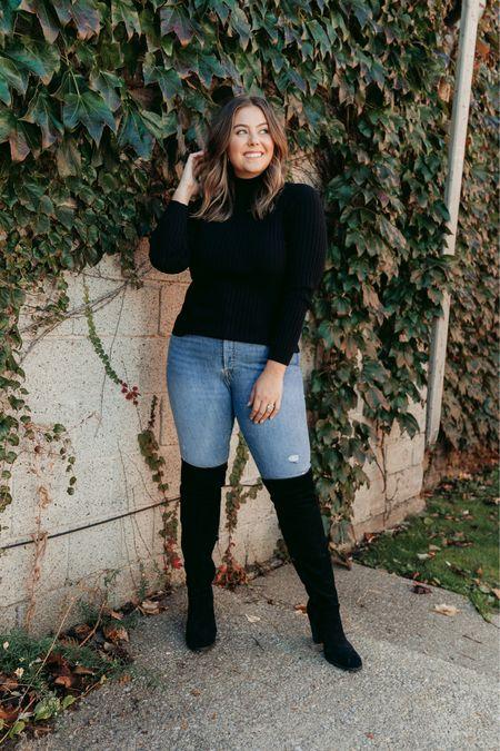 Fall denim outfit - thigh high boots and turtleneck (32/XL)   #LTKSeasonal #LTKcurves #LTKunder100