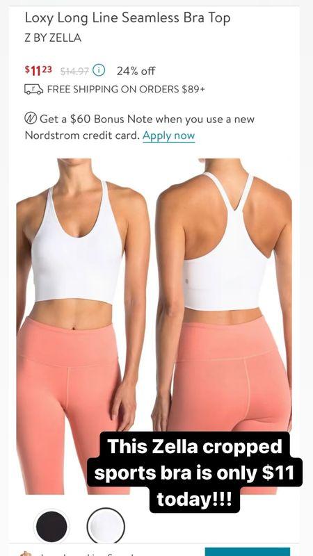 Zella Cropped bra on sale at Nordstrom rack  #LTKsalealert