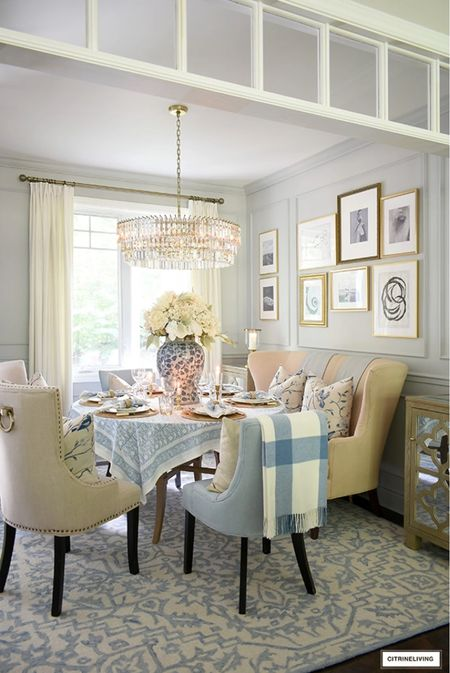 Fall dining room decor in soft blues and warm neutrals   #LTKhome #LTKstyletip #LTKSeasonal