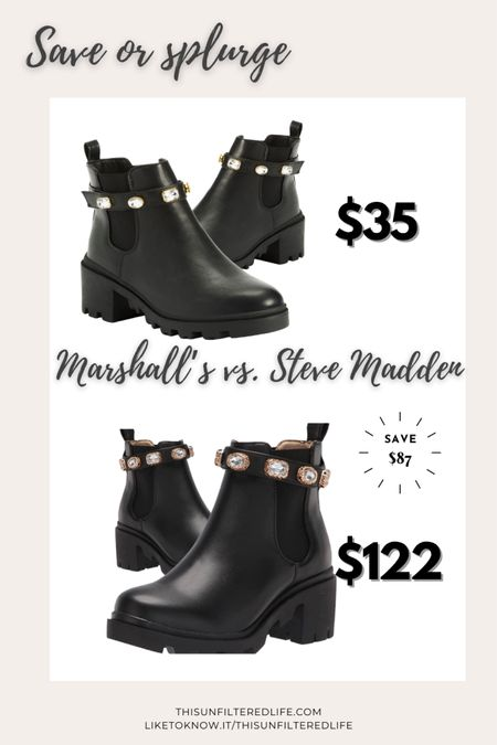 Save or splurge.  These Steve Madden boot look-alikes are available online at marshall's.com. You can save over $80! What?!   #LTKunder50 #LTKshoecrush #LTKsalealert