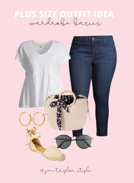 Simple, chic plus size spring outfit! All the plus size Sofia Vergara jeans have been top sellers. Amazing quality for plus size jeans under $30!   #LTKstyletip #LTKcurves #LTKunder50