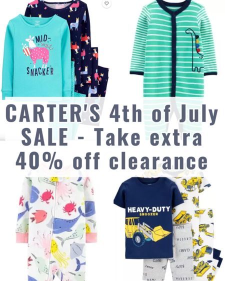 Now is a great time to stock up at Carter's! Take an extra 40% off clearance. Take a look at some of my favorite jammies I found for babies, toddlers and kids!  #LTKsalealert #LTKkids #LTKbaby