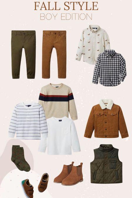 Fall style // boy // pants // sweaters // print shirts // corduroy jacket // puffer vest // boots // socks // Janie and Jack  #LTKSeasonal #LTKkids #LTKunder50