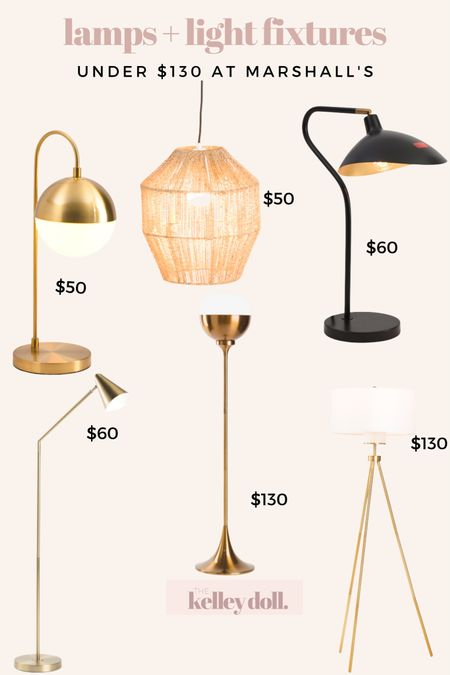Modern Lamps and Light Fixtures Under $130 at Marshall's   Mid Century Lamp mid Century Modern Pendant Light Serge Mouille Style Lamp Gold Floor Lamp Gold Tripod Floor Lamp Globe Light Globe Lamp Gold Table Lamp Home Decor      #LTKhome #LTKunder100 #LTKunder50