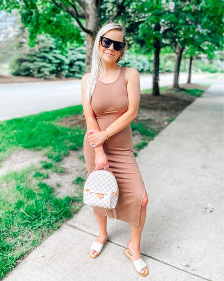 Dress: Small/Use code: BRITTANYH20 to save  Backpack: Code: BRITTANYH40 to save  Sandals: fit tts Sunnies are $14 Amazon find 😎 . . .  http://liketk.it/3hbGP #liketkit @liketoknow.it #LTKstyletip #LTKunder50 #LTKunder100 sunglasses, summer dress, dress, Amazon, Amazon find, mini backpack, book bag, car eye sunglasses, nude dress, brown dress, midi dress, petal and pup