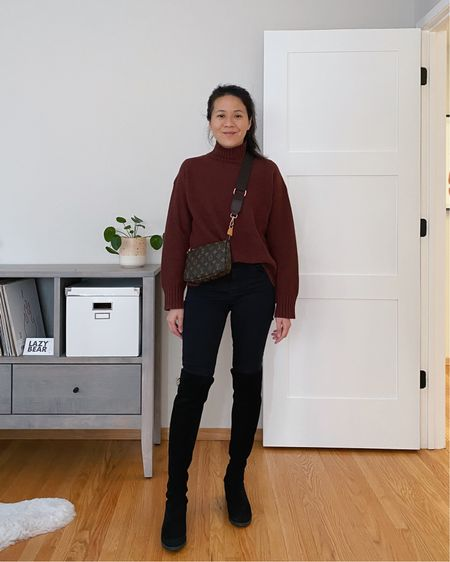 Bringing new life to my LV Pochette Accessories with an inexpensive bag strap. Worn here a cozy recycled cashmere turtleneck sweater and over the knee suede boots. #LTKFall   #LTKitbag #LTKstyletip