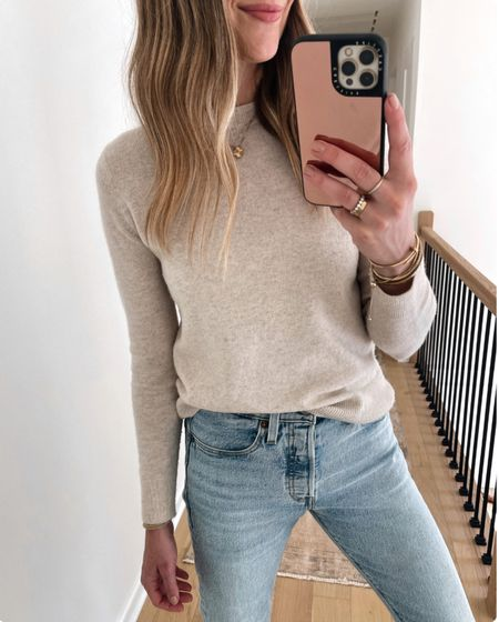 Love this beige sweater for fall! It's a cashmere blend and perfect for wearing solo or layered under a jacket! Fits TTS (wearing an xs) #sweaters #falloutfits #liketkit  @shop.ltk   #LTKunder100 #LTKsalealert #LTKstyletip