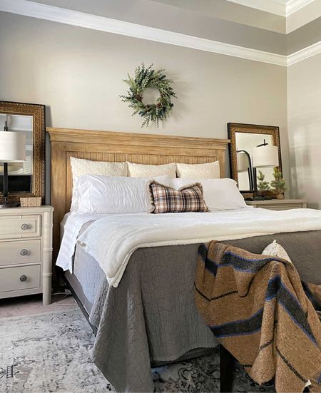 Master bedroom holiday ready. This winter look from last year will be on repeat  #masterbedroom #bedroomdecor #Walmarthome #ltkunder50  #LTKSeasonal #LTKHoliday #LTKhome