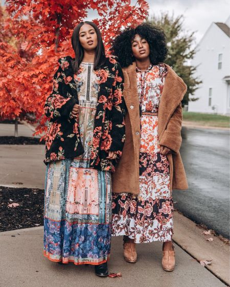 Who doesn't love a good #winterfloral look? 🙌🏾 Blog post up on our blog about our love for this all-time favorite trend as well as links to these stunning dresses/jackets from @anthropologie. link in bio #sponsored    You can also instantly shop all of our looks by following us on the LIKEtoKNOW.it app @liketoknow.it #liketkit http://liketk.it/2y1WL