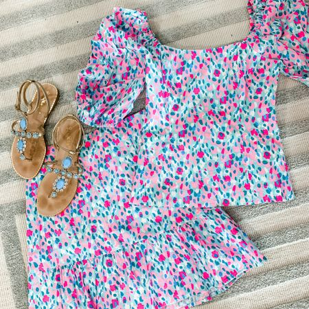 My favorite 2 piece skirt set from Lilly Pulitzer! Love these fun colors and that you can mix and match the pieces! #lillypulitzer #2piece #set #sandals   #LTKtravel #LTKSeasonal #LTKbacktoschool