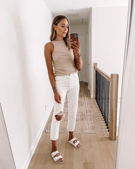 Fashion Jackson wearing #summeroutfit #whitejeans (tts) tank top (small / tts) #summerfashion #birkenstocks #sandals #agolde #shopbop http://liketk.it/3hof7 #liketkit @liketoknow.it #LTKshoecrush #LTKstyletip #LTKunder100
