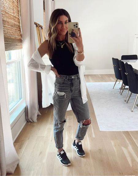 Today's casual outfit. LOVE these sneakers! $5 tanks. White top is Amazon.    #LTKunder50 #LTKstyletip #LTKshoecrush