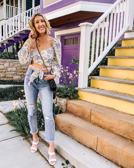 Madewell jeans, crop top, floral, summer, heeled sandal, braided , chicwish, mom jeans, straight leg jeans, http://liketk.it/3hXDc #liketkit @liketoknow.it #LTKunder100 #LTKstyletip #LTKshoecrush