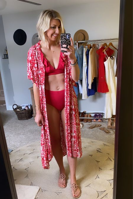 http://liketk.it/3goU5 #liketkit @liketoknow.it  The cutest red maxi dress that also doubles as a kimono to wear with a swimsuit & sandals