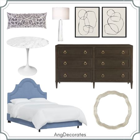 Sharing a Look for Less board inspired by The Beverly Hilton      Tulip table blue upholstered bed abstract canvas acrylic lamp scalloped mirror  #LTKhome