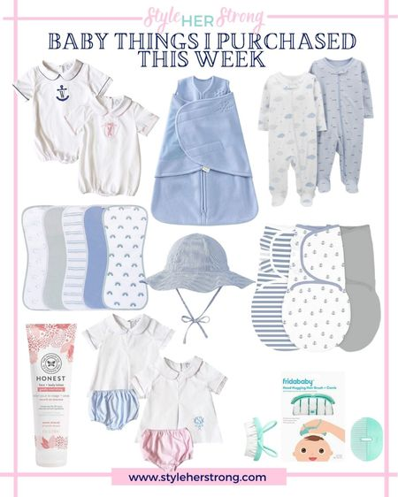 Baby things I purchased for our one week old this week  Baby sun hat baby swaddle onesies baby lotion baby hair brush snd come footie Jammies with mitten covers burp cloths   #LTKbaby #LTKbump #LTKfamily
