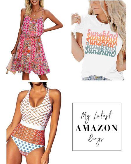 My latest Amazon buys! Graphic sunshine tee, boho spaghetti strap dress, one piece print swimsuit by Cupshe. http://liketk.it/3jUXR #liketkit @liketoknow.it #LTKunder50 #LTKstyletip #LTKswim #founditonamazon #amazonfashion