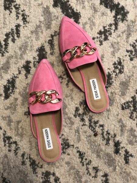 I am obsessed with this shade of pink! These slides are so cute and perfect to wear now and through the year.   #LTKsalealert #LTKunder50 #LTKshoecrush