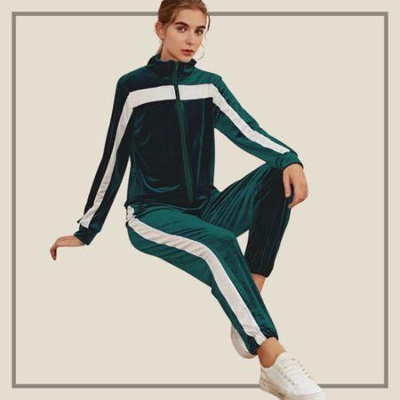 Emerald green matching track suit from Shein   #LTKfit #LTKstyletip #LTKunder50
