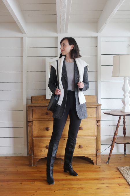 Another corporate capsule look from the Style Journal!  Ivory Everyday Sweater - Jenni Kayne - Use LEE15 for 15% Off - True to size.  Blazer / Boots / Pants / Bag - Old - Linked to similar.  Grey Ribbed Knit - Mott + Bow - Use LEE10 for 10% Off first orders. - True to size.     #LTKworkwear #LTKSeasonal