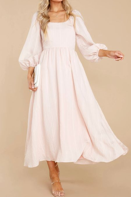 I wore this gorgeous number for our newborn pictures! True to size and oh so gorgeous.   #weddingguestdress #dress #photoshoot #dresses #blush #elegant #church #datenight #dressy #trend #style #ootd #ootn #classy   #LTKunder50 #LTKstyletip #LTKwedding