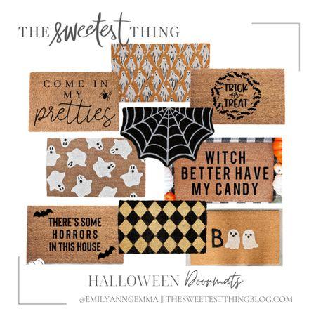 Halloween Decor, Fall Decor, Doorway Decor, Doormat, Halloween Doormat, Fall Doormat, Ghost Doormat, Black and White Doormat, Emily Ann Gemma Home   #LTKSeasonal #LTKhome