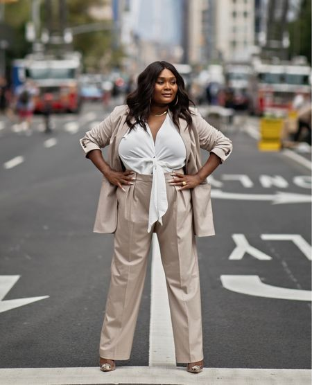 Power suit from Mango is unmatched and paired with Schutz pumps   #LTKcurves #LTKworkwear #LTKunder100
