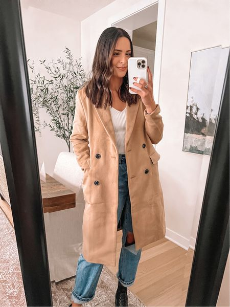Forever 21 finds: Double breasted pea coat: true to size, sized up to a M for a roomier fit  Sweater tank: true to size (S)  Jeans: true to size, size up for looser fit (29) - Boots: true to size (use code TAYLOR15)  #LTKstyletip #LTKunder50 #LTKSeasonal