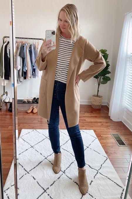 classy yet trendy, J. Crew, coatigan, Juliette Sweater Blazer, striped tee, dark wash jeans, booties  #LTKstyletip#LTKshoecrush#liketkit @liketoknow.it