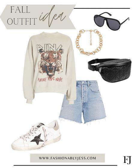 Fall outfit, belt bag, Anine Bing, high waisted denim, casual outfit, graphic sweatshirts   #LTKSale #LTKstyletip #LTKsalealert