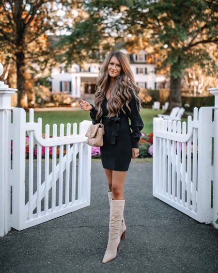 The Chelsea Wrap Sweater Dress in Black  XS, TTS, cmcoving, Caitlin Covington, Pink Lily Collection, fall fashion, use code CAITLIN20 for 20% off!  #LTKSeasonal #LTKsalealert #LTKunder100