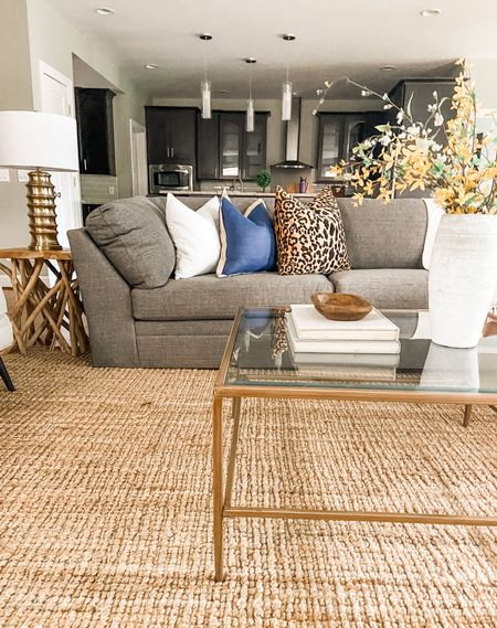 Neutral living room decor with a gold and glass coffee table and twig side table.  Living room decor, gray couch, coffee table style, gold lamp, glass coffee table, home decor  #LTKhome