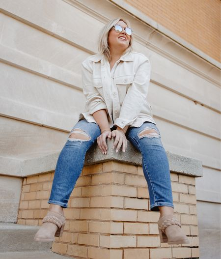Hanging on until the weekend.  Loving these jeans so much so that I might have ordered a second pair.  Curvy denim  Good American denim  Fall jeans  Shacket  Evereve  Dolce vita  Booties  Mules   #LTKshoecrush #LTKstyletip #LTKcurves