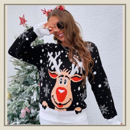 Christmas elk patties holiday sweater from Shein   #LTKunder50 #LTKstyletip #LTKHoliday