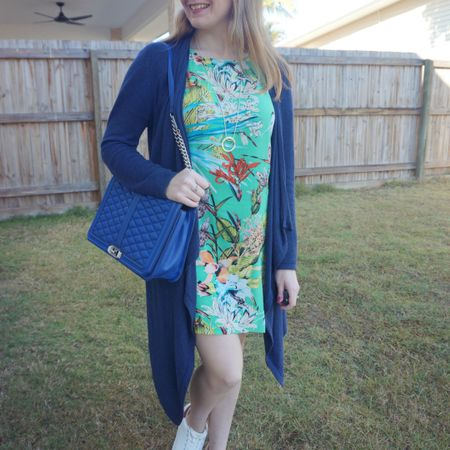 Monday's outfit: blue and green 💙💚 busy morning with school, an appointment for the little one and a sports class before school pickup. As it was a chilly morning wore this long navy waterfall cardigan over my tropical floral print tee dress 💙💚 and comfortable chunky sneakers for all the driving around! Took the opportunity to add another bit of blue to my outfit with this cobalt Rebecca Minkoff jumbo Love bag too 💙  ------------------- ------------------- ------------ ---------------- ---------------------  Screenshot this pic to shop the product details from the @liketoknow.it app, or click here: http://liketk.it/3n65o #liketkit #LTKaustralia #LTKitbag #myRM #RebeccaMinkoff #RebeccaMinkoffJumboLove #everythingLooksBetterWithABag #everydaystyle #realeverydaystyle #wearedonthestreet #realmumstyle #nevervainalwayscolour #mumlife
