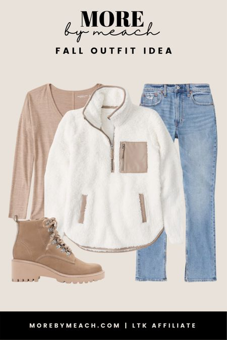A cute and casual combat boots outfit featuring the popular Abercrombie fleece and curve love jeans. 🤍 || fall outfits, capsule wardrobe, wardrobe essentials, cozy looks, casual looks  #LTKunder100 #LTKSeasonal #LTKSale