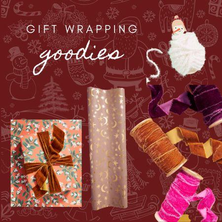 Christmas gift wrapping, wrapping paper, gift wrapping ideas, velvet ribbon   #LTKhome #LTKHoliday #LTKSeasonal